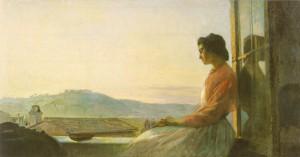 П.П.Чистяков, Джованнина, сидящая на подоконнике, 1864, холст, масло